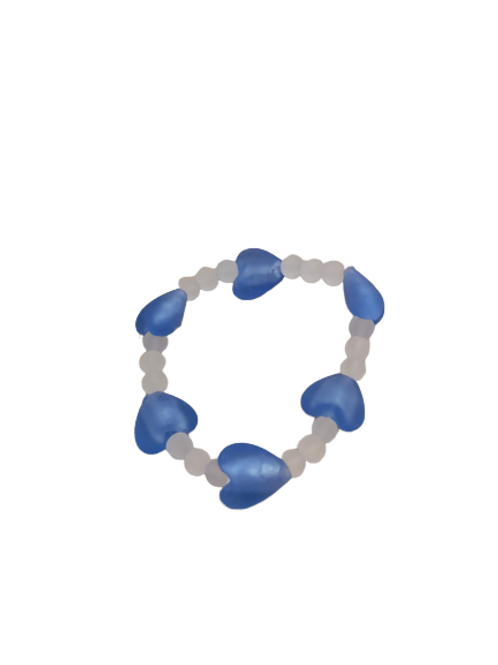 Blue heart and white frosted beaded stretch bracelet