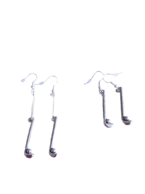 sterling silver/silver plated golf club earrings