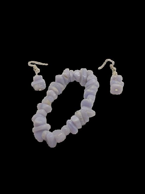 Blue lace agate jewellery/blue bracelet/chip bead earrings