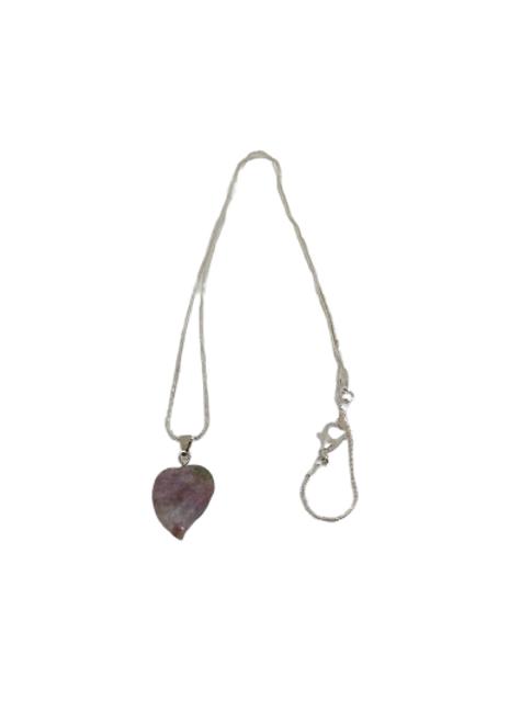 Silver plated fancy jasper heart chain/necklace