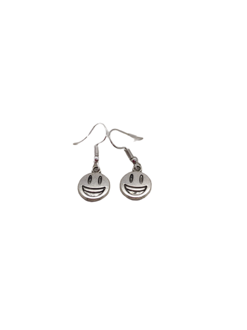 Silver plated happy earrings/smiley face/sterling silver/quirky jewellery