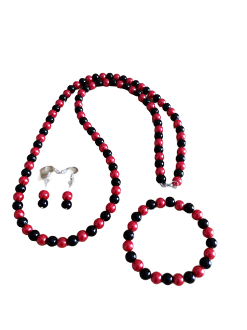 Black and red beaded necklace, bracelet and earring set