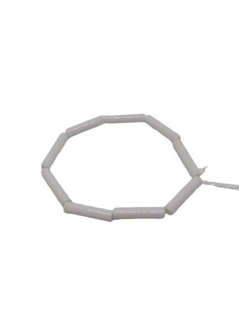 white stretchy tube beaded bracelet