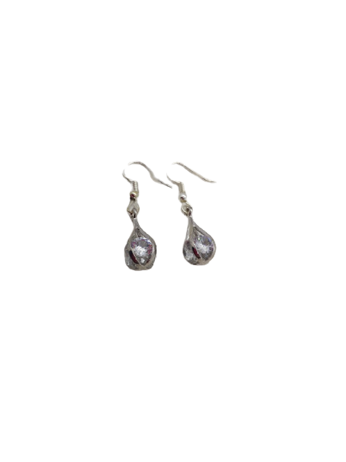 silver plated teardrop/diamante earrings/sparkly drops/gifts for her/anniversary