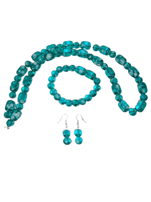 Turquoise or black glass beaded bracelet, necklace and earring jewellery