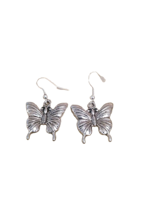 Sterling silver/silver plated butterfly drop earrings
