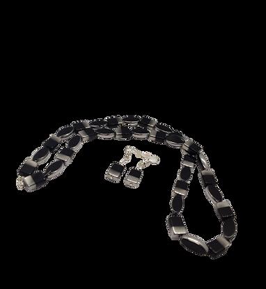 60s style jewellery/silver black beaded jewelry/glass necklace/oval earrings/
