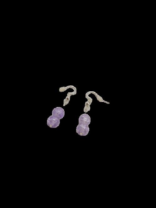 Lilac jewellery set/crackle bead/beaded bracelet/Spring earrings