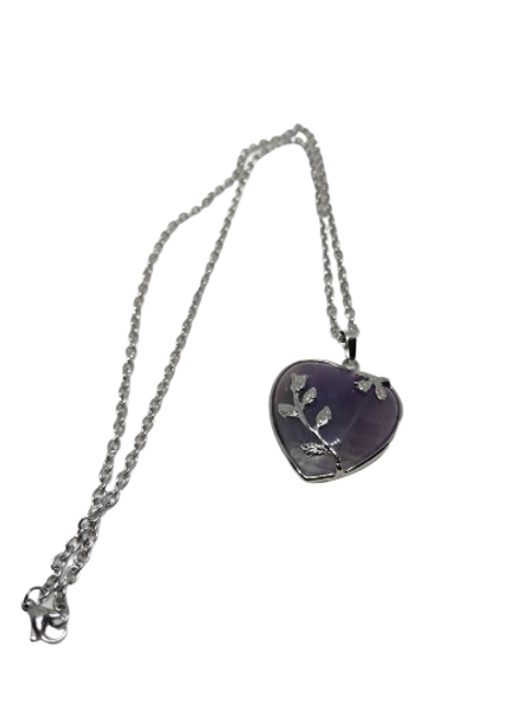 silver plated amethyst/Opalite/Rose Quartz heart pendant/necklace/chain