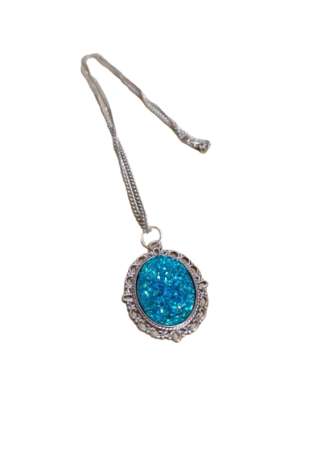 Silver plated turquoise druzy oval pendant