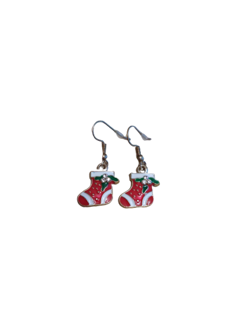 Gold plated Christmas earrings such as stockings or presents