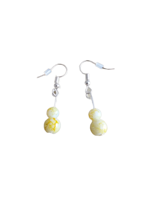 Yellow and white beaded earrings