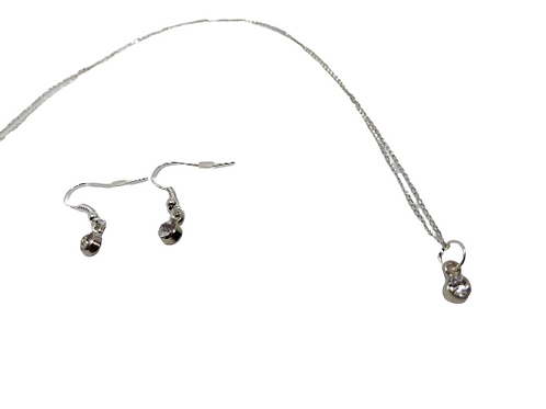 Sterling silver diamante earrings and chain/necklace
