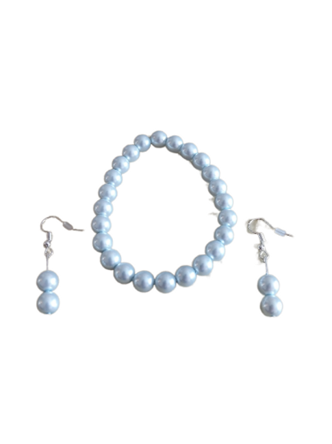 Bridal bracelet and earring sets in pink/blue/cream