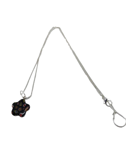 silver plated millifiori flower chains