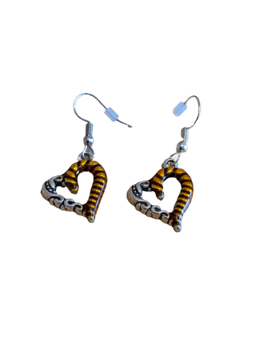 Silver plated/sterling silver copper and silver heart drop earrings