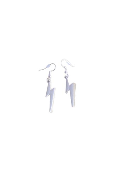 Silver plated/sterling silver lightning bolt earrings