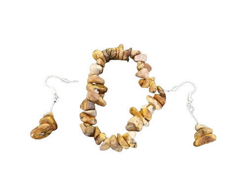 Brown agate stretch chip beaded bracelet and earrings