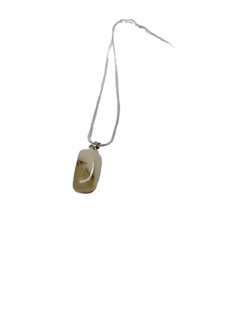 Silver plated snow quartz/milky quartz  crystal healing chain/necklace