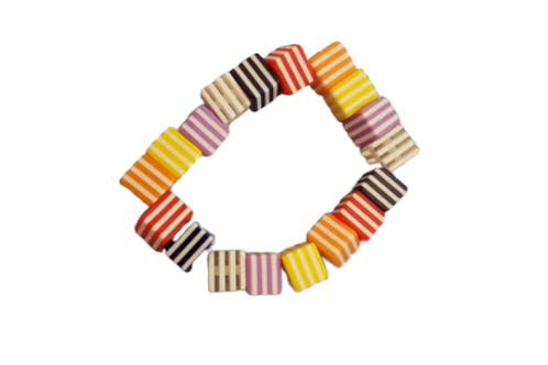 Multicolour square cube beaded stretch bracelet