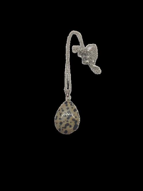 Silver plated dalmatian jasper pendant/semi-precious necklace/gemstone jewellery