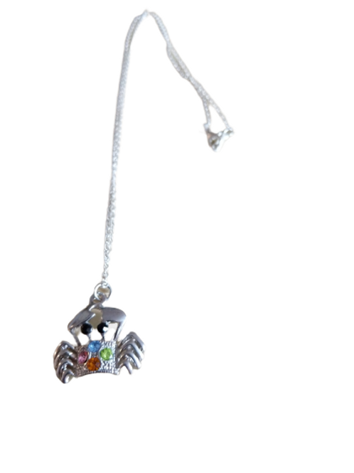Silver plated colourful crab necklace/chain/pendant