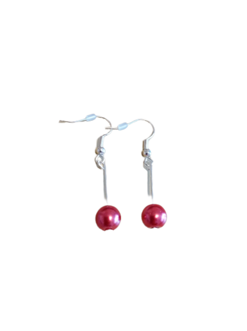 silver plated/sterling silver small single bead drop earrings
