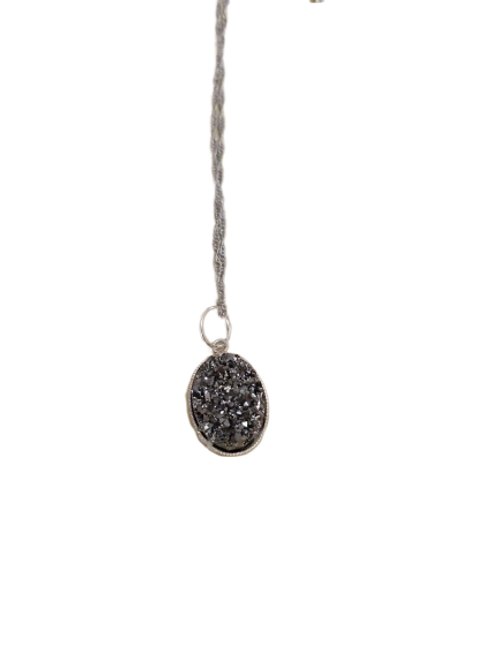 Silver plated grey druzy necklace/chain