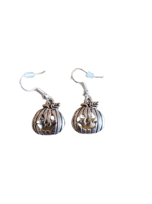 Silver plated/sterling silver pumpkin halloween earrings