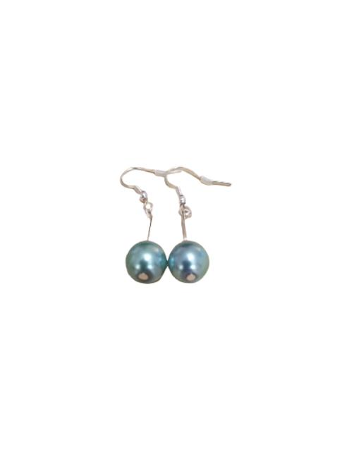 Silver plated/sterling silver single bead drop earrings