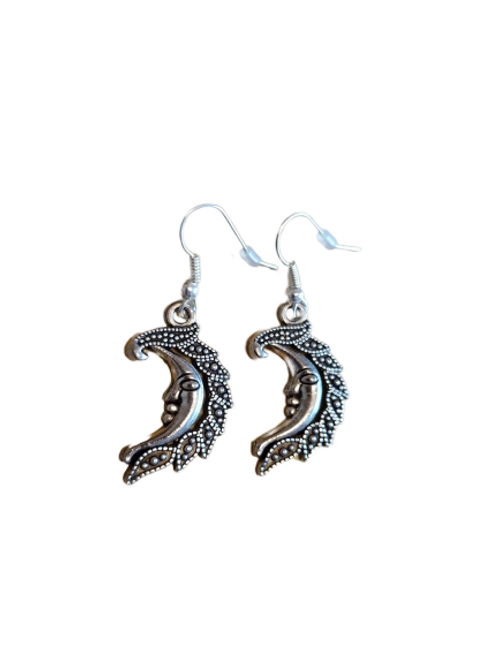 Silver plated/sterling silver crescent moon drop earrings