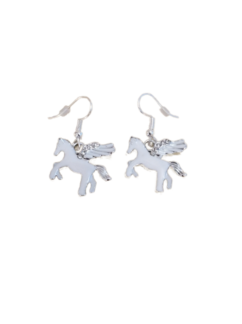 Sterling silver/silver plated white and silver diamante unicorn earrings