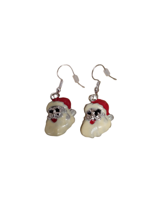 sterling silver/silver plated coloured Christmas earrings such as bells, Santa