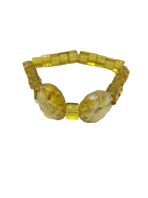 Yellow cube bead and circle beaded stretch bracelet