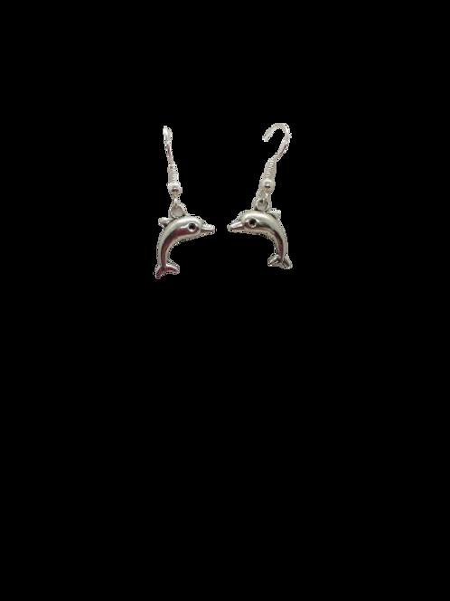 Silver plated dolphin earrings/sea life/mammals/animal earrings/dangle drops