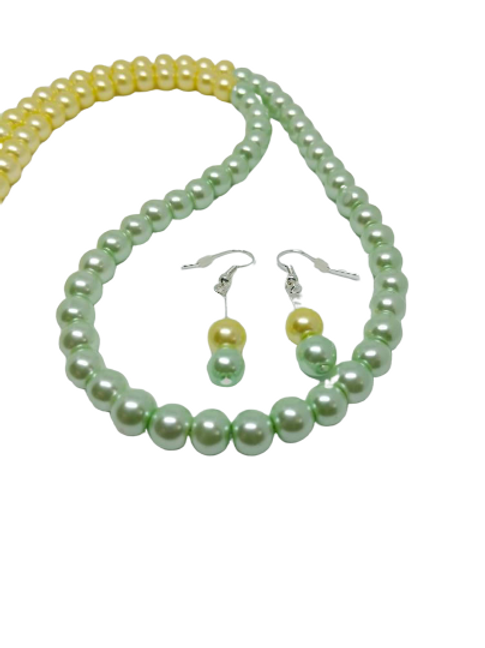 yellow and green necklace and earring jewellery set