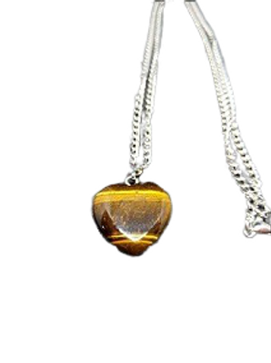 Silver plated Tigers Eye heart necklace/pendant