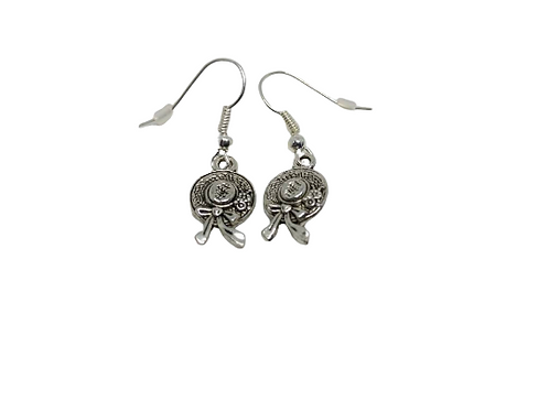 Silver plated/sterling silver bonnet earrings.