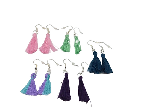 Silver plated purple, pink and green tassel earrings
