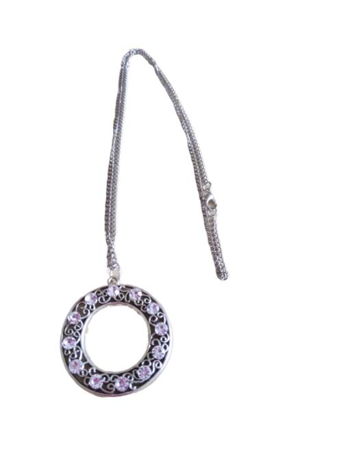 Silver plated diamante circle doughnut/donut chain/pendant/necklace