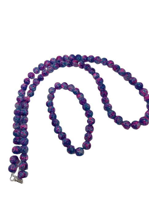 Purple and blue/orange and purple, green and purple beaded necklace and bracelet