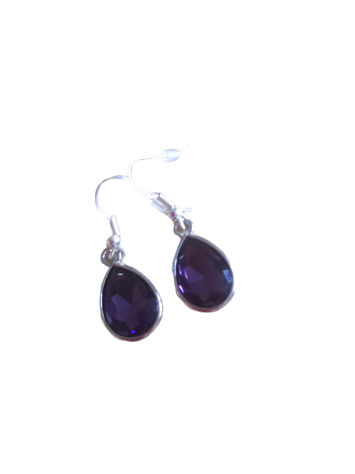 Silver plated/sterling silver dark purple or red oval earrings