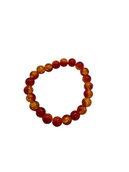 crackle bead bracelet, red and orange wrist candy, purple beaded bracelet