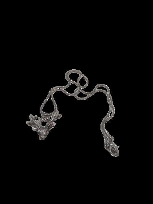 Black plated deer necklace, animal jewellery, deer earrings, black stag