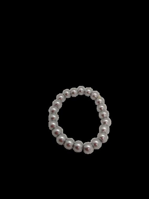 faux pearl bracelet,  silver bracelet, expandable bracelet, stretch jewelry,