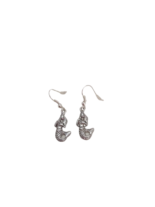 silver plated mermaid earrings/sterling silver/sea creature/quirky jewellery
