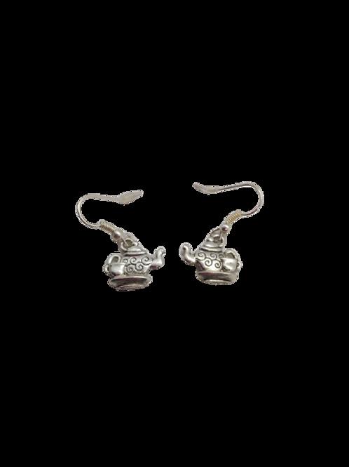 silver plated teapot earrings/quirky earrings/unusual earrings/novelty drops/ste