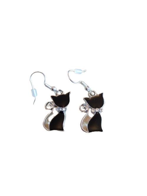 sterling silver/silver plated black diamante cat earrings