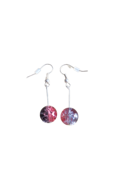Sterling silver/silver plated black/red crackle bead drop earrings