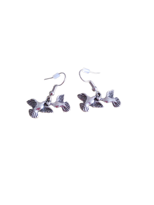 Sterling silver/silver plated lovebird earrings